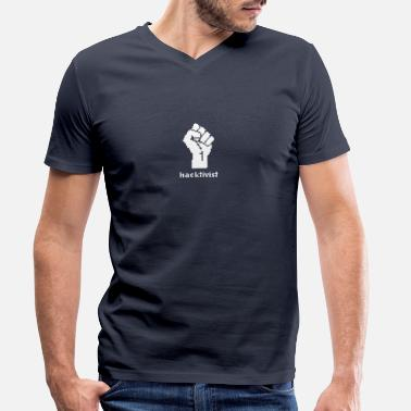 Politics Hacktivist Political Politics - Men's Organic V-Neck T-Shirt