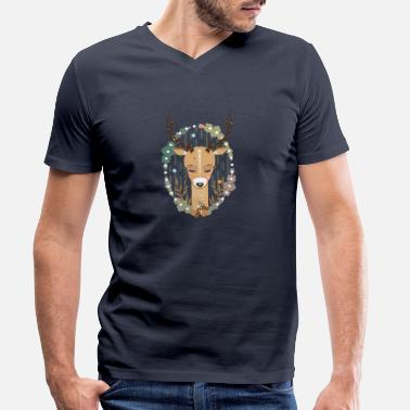 Nature A deer in the forest - Men's Organic V-Neck T-Shirt