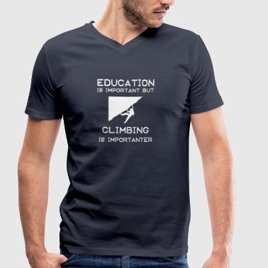 Education is important but Climbing is importanter - Men's Organic V-Neck T-Shirt by Stanley & Stella