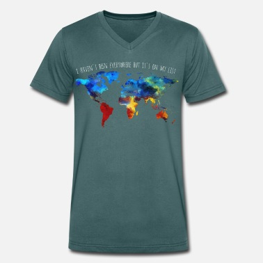 Travel Adventure I Have not Been Everywhere But It's On My List - Men's Organic V-Neck T-Shirt by Stanley & Stella