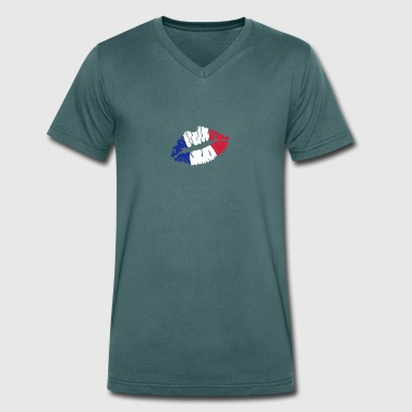 French flag lips - Men's Organic V-Neck T-Shirt by Stanley & Stella