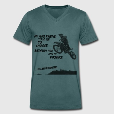 crossmotor shirt - choose girlfriend or dirt bike - Mannen bio T-shirt met V-hals van Stanley & Stella