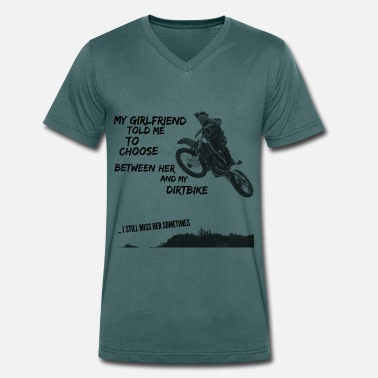 Cross Motor crossmotor shirt - choose girlfriend or dirt bike - Mannen bio T-shirt met V-hals van Stanley & Stella