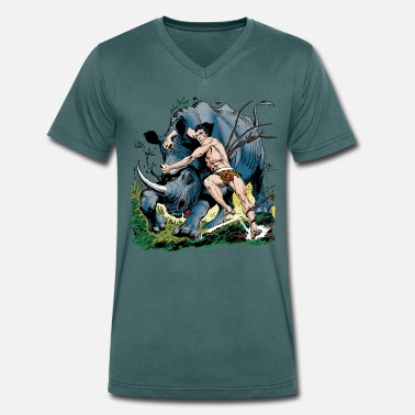 Tarzan Tarzan fighting with a rhino - Men's Organic V-Neck T-Shirt by Stanley & Stella