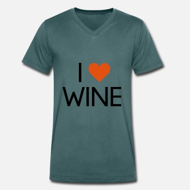 Weinstock I Love Wine - Men's Organic V-Neck T-Shirt by Stanley & Stella