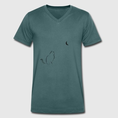 Cat Moon moon cat - Men's Organic V-Neck T-Shirt by Stanley & Stella