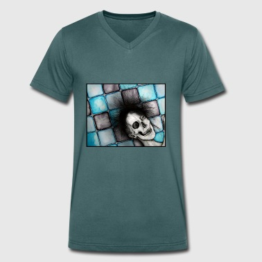 life-death on a blue background - Men's Organic V-Neck T-Shirt by Stanley & Stella