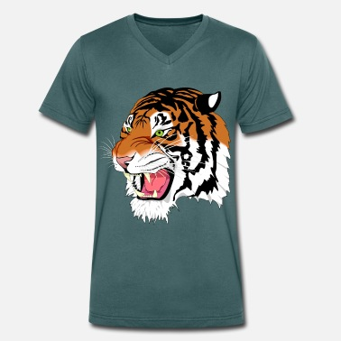 Kuma Kuma the Bengal Tiger - Men's Organic V-Neck T-Shirt by Stanley & Stella