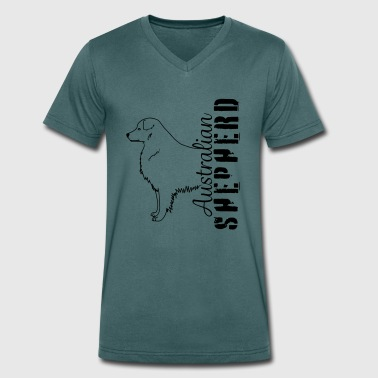 Aussies herding dog pet - Men's Organic V-Neck T-Shirt by Stanley & Stella