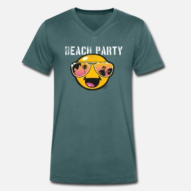Officialbrands SmileyWorld 'Beachparty' teenager t-shirt - Camiseta ecológica hombre con cuello de pico de Stanley & Stella