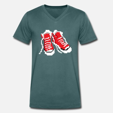 8bit Classic 80s Shoes - Retro 8bit Design - Men's Organic V-Neck T-Shirt by Stanley & Stella