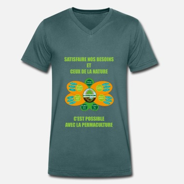 Permaculture Ethics and Principles of Permaculture - Men's Organic V-Neck T-Shirt by Stanley & Stella