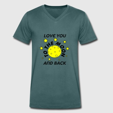 Back Loved love you to the moon and back - Men's Organic V-Neck T-Shirt by Stanley & Stella