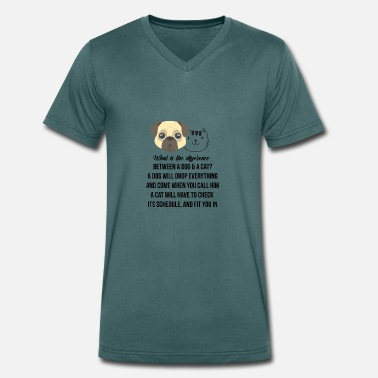 Difference Between Difference between a dog and a cat - Men's Organic V-Neck T-Shirt by Stanley & Stella