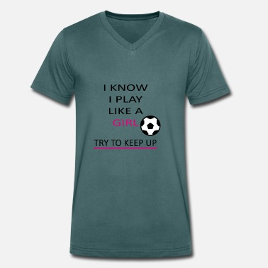 Womens Football Football Women Soccer Women Girls Sport Ball - Men's Organic V-Neck T-Shirt by Stanley & Stella