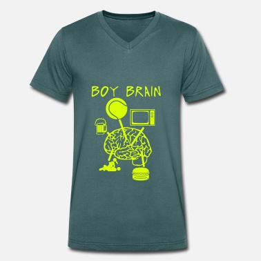 Sex Tv Boy brain tennis TV beer sex - Men's Organic V-Neck T-Shirt by Stanley & Stella