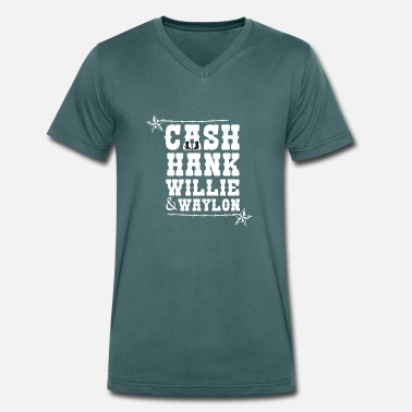 Hank Cash Hank Willie & Waylon Music Country Tennessee - Men's Organic V-Neck T-Shirt by Stanley & Stella