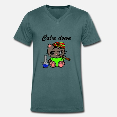 Calm The Fuck Down Calm down cat - Men's Organic V-Neck T-Shirt by Stanley & Stella