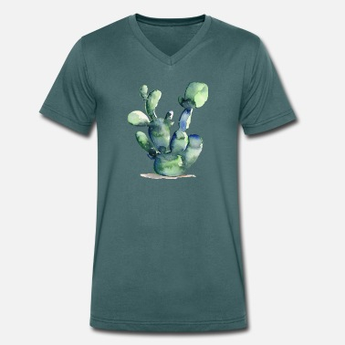 Cactus Watercolor | Greenery Watercolor Edition - Men's Organic V-Neck T-Shirt by Stanley & Stella