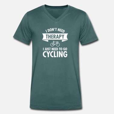 Therapy Therapy - Cycling - Men's Organic V-Neck T-Shirt by Stanley & Stella