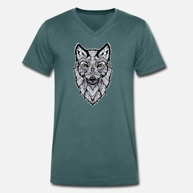 Wolf Eyes White wolf with yellow eyes - Men's Organic V-Neck T-Shirt by Stanley & Stella