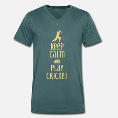 Play Cricket Stay calm and play cricket - Men's Organic V-Neck T-Shirt by Stanley & Stella
