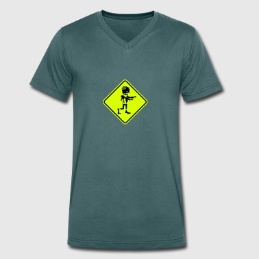 zombie road sign - Men's Organic V-Neck T-Shirt by Stanley & Stella