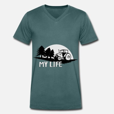 Forestry my life my tractor my life agriculture - Men's Organic V-Neck T-Shirt by Stanley & Stella