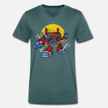 Comic Figure ROBOT BOOMBOX - Cartoon Comic Figure Shirt Gift - Men's Organic V-Neck T-Shirt