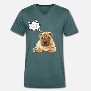 Folded Fold dog shirt, fold dog - Men's Organic V-Neck T-Shirt by Stanley & Stella