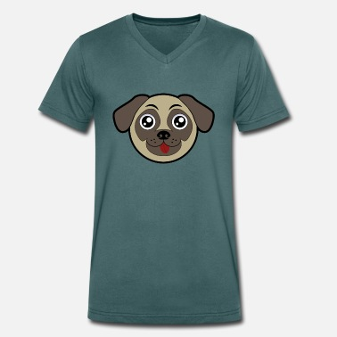 Funny Pug FUNNY PUG - Men's Organic V-Neck T-Shirt by Stanley & Stella