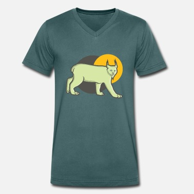 Big Point Lynx with long pointed ears at sunset - Men's Organic V-Neck T-Shirt by Stanley & Stella