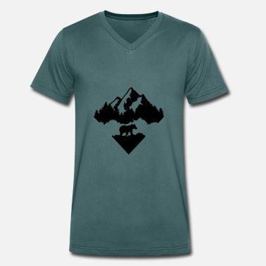 Bear, Forest and Mountains - T-shirt ecologica da uomo con scollo a V di Stanley & Stella