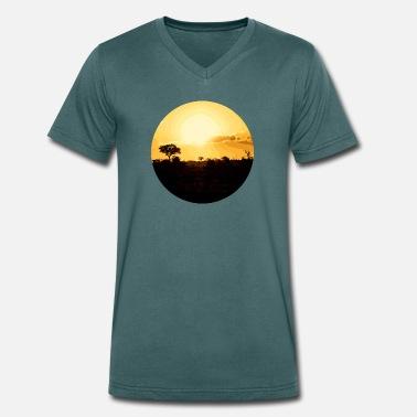 784fde8ad6 Naranja Sol Naranja puesta de sol en africa - Camiseta con cuello de pico  hombre