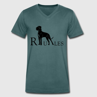 dogge rules - Men's Organic V-Neck T-Shirt by Stanley & Stella