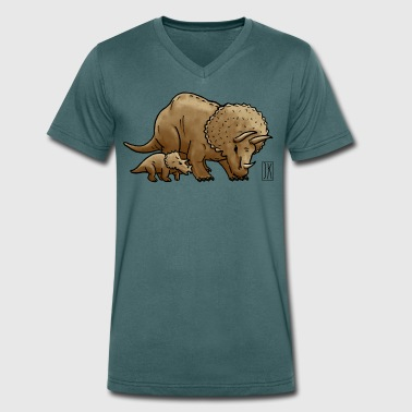 Triceratops with child - Men's Organic V-Neck T-Shirt by Stanley & Stella