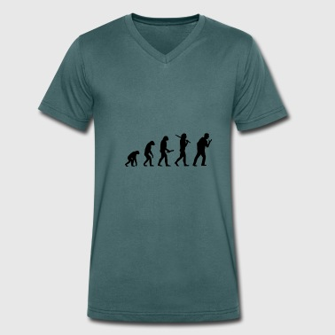 screaming man evolution progress development - Men's Organic V-Neck T-Shirt by Stanley & Stella