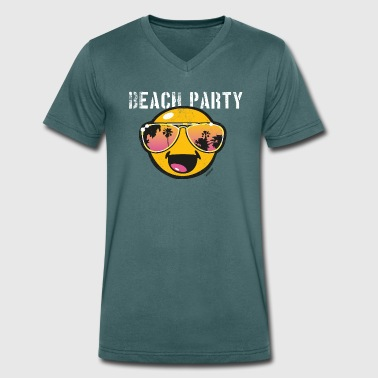 SmileyWorld 'Beachparty' teenager t-shirt - T-shirt ecologica da uomo con scollo a V di Stanley & Stella