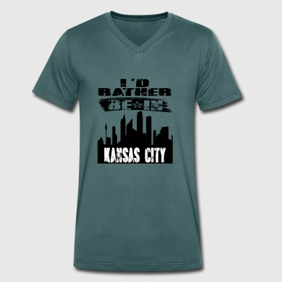 Gift Id rather be in Kansas City - Men's Organic V-Neck T-Shirt by Stanley & Stella