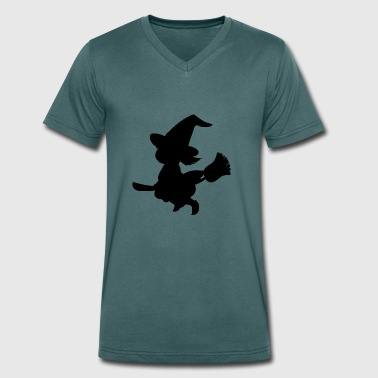 Witch on broom - Men's Organic V-Neck T-Shirt by Stanley & Stella