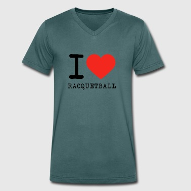 I love racquetball - Men's Organic V-Neck T-Shirt by Stanley & Stella