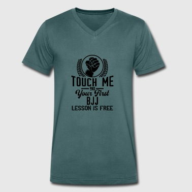 Touch me - first BJJ lesson free - black - Men's Organic V-Neck T-Shirt by Stanley & Stella