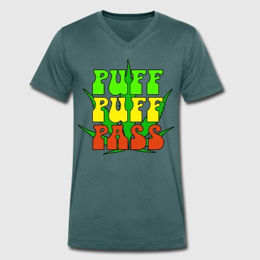 Puff Puff Pass - Men's Organic V-Neck T-Shirt by Stanley & Stella