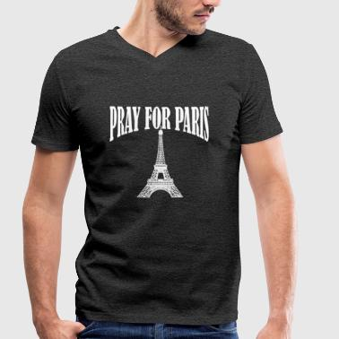 Pray For Paris Pray for Paris - Men's Organic V-Neck T-Shirt by Stanley & Stella