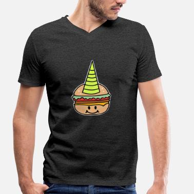 Burger Burger unicorn fast food - Men's Organic V-Neck T-Shirt by Stanley & Stella