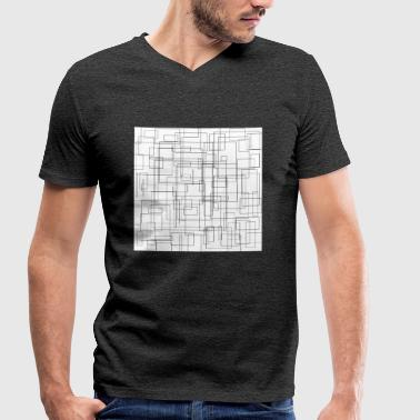 Rectangle Rectangles pattern freestyle black and white - Men's Organic V-Neck T-Shirt by Stanley & Stella