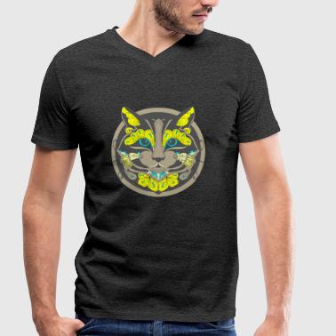 Crazy Cat Crazy Cat - Men's Organic V-Neck T-Shirt by Stanley & Stella