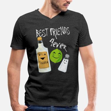 Tequila Alcohol Best Friends Forever Tequila Lime Salt Humour - Men's Organic V-Neck T-Shirt by Stanley & Stella