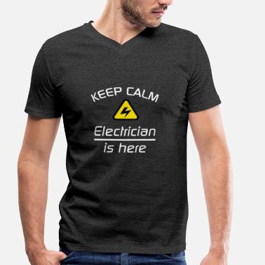 Keep Clam Keep Clam - Electrician - Men's Organic V-Neck T-Shirt by Stanley & Stella