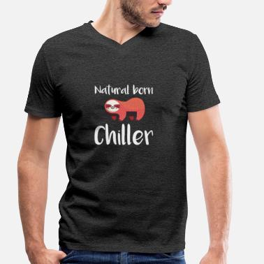 Natural Born Chiller Natural Born Chiller luiaard T-shirt - Mannen bio T-shirt met V-hals van Stanley & Stella